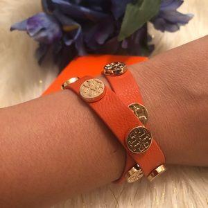 Tory Burch orange leather wrap bracelet